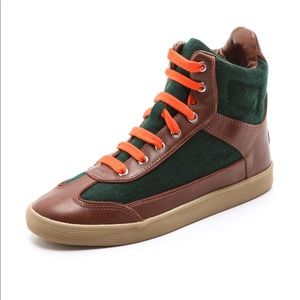Tory Burch Evelin High-Top Sneakers Leather Size 9